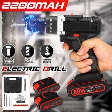 88vf Cordless Drill Heavy Duty Impact Driver Kit Brushless Hammer 2 Battery Kit