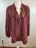 Maurices Size 1X Women's Top Striped Balloon Sleeve Peasant Tie Neck Shirt