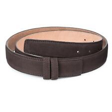 "Dark Brown leather belt strap Italian Suede Adjustable Replacement 35 mm Sz 40"""
