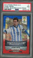 Lionel Messi 2014 Panini Prizm World Cup Stars Red White Blue Prizm Card 1 PSA 7