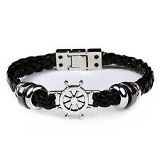 Braided Leather Nautical Steel Anchor Surfer Wristband Bracelet