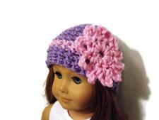 "Crochet Hat Fits American Girl Dolls 18"" Doll Clothes Purple w/ Pink Flower"
