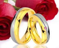 2 Ringe Eheringe Trauringe Verlobungsringe GOLD Platiert Gravur GRATIS TE46-1R
