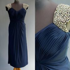 Anny Lee Pageant Prom Dress Blue Stretch Jersey Huge Prong Set AB Rhinestones M