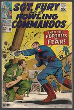 """SGT. NICK FURY AND HIS HOWLING COMMANDOS #39 MARVEL 1967 """"FORTRESS OF FEAR!"""" VG-"""