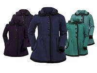Girls Black Trim Hooded Lined Designer Winter Jacket School Coat Age 6 - 15 Year