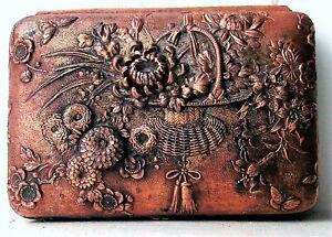 Unusual Meiji Period Japanese Bronzed & Silvered Metal Trinket Box