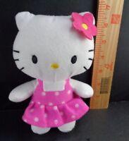 19be6e102 Hello Kitty Polka Dot Pink Dress Red Flower Plush stuffed toy Doll 7