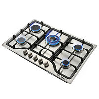 "30"" Silver 5 Burner Built-in Stainless Steel Gas Hob NG/LPG Cooktop Cooker Stove"