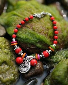 Red Coral And Shell Beaded Bangle Bracelet Size 6-8 Inches Women Or Men Chakra