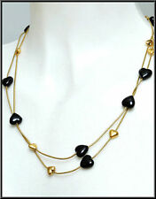 NEW PILGRIM NECKLACE GOLD PLATED & BLACK HEARTS HANDMADE SOLD OUT AT PILGRIM