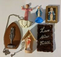 Vintage Religious Catholic Icons Holy Water Fonts Charms Jesus Mary Mixed Lot