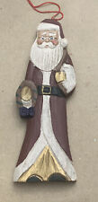 Collectible Wood Carved Flat Santa Claus Hanging Christmas Ornament< 00006000 /a>