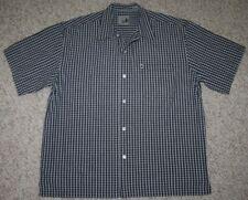 Pineapple Connection Dress Shirt Medium Button Up Short Sleeve Pocket Black Gray