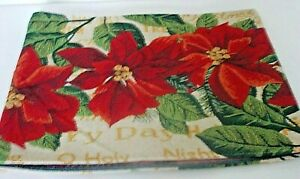 """PEGGY WILKINS CHRISTMAS SPRAY POINSETTIA 70"""" TABLE RUNNER OR SINGLE PLACE MAT"""