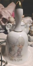 """Precious Moments Bell Girl & Boy """"Sew in Love"""" Porcelain 1989 4 3/4 tall Vintage"""