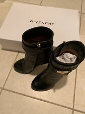 GIVENCHY Shark Lock Booties Boots High Heels Black Leather 6 36