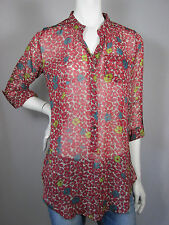 NEW Wet Seal Red Floral Print Sheer Pocket Long Sleeve Blouse Shirt sz S #2