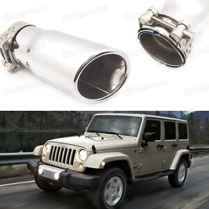 Silver Car Exhaust Muffler Tip Tail Pipe Trim for Jeep Wrangler 2007-2016 #3058