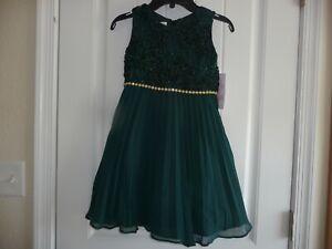 NEW NWT Bonnie Jean girls size 6 Gorgeous formal green sparkle pleated dress