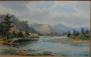 WILLIAM GEORGE BAKER NZ 1864-1929 RARE ORIGINAL SIGNED PAINTING 'SILVERSTREAM'