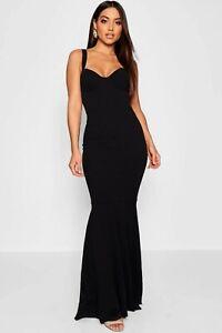 boohoo fishtail dress UK 10- 12 women's black sweetheart strappy maxi mermaid