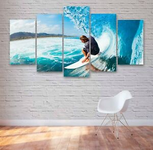 Surfer, Extreme Sports 5 Panel Canvas, Wall Art, Picture, Print #022