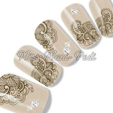 Nail Art Water Decals Transfers Stickers Wrap Brown Mendhi Design Lace G137