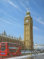 "Originale de Richard Harpum ""hiver matin Big Ben London Tour Elizabeth peinture"""