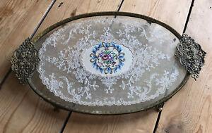 Vintage Petit Point & Filigree Gilt Metal Dressing Table Tray