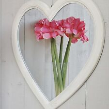 White Heart Wall Mirror Wooden Hanging on Cord SECONDS was £19.50