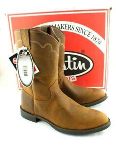 JUSTIN Size 10 EE Tan Apache Stampede Roper Men's Western Boots 3902 MSRP $144