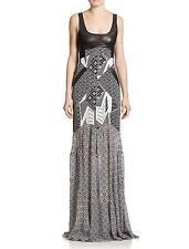 Diane von Furstenberg Black Bali Silk Leather DVF Serena Maxi Dress $998 NWT 6