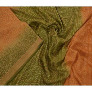 Tcw  Vintage Green Sarees 100% Pure Silk Printed  Sari Craft Fabric