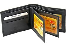 Mens Genuine Leather Wallet Bifold 2 Flap ID Cases Credit Card Holder Billfold