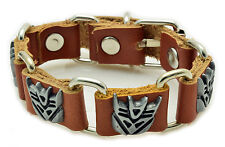 Transformers Decepticon Bracelet Brown Leather Silver Buckle NEW