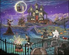 Byrum Fantasy Halloween Print Witches Haunted House Children Graves Colorful!