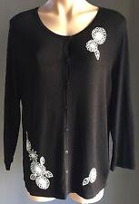 Gorgeous MARCO POLO Black Thin Knit Cardigan w White Flowers Size XL / 16
