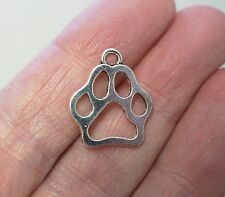 10 Metal Antique Silver Dog Cat Animal Paw Charms - 20mm