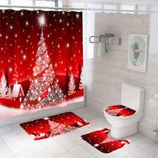 Merry Christmas Shower Curtain Bathroom Rugs Bath Mat Non-Slip Toilet Lid Cover