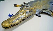 Genuine Crocodile Leather Hide Head Metallic silver gold unique exotic CITES 07