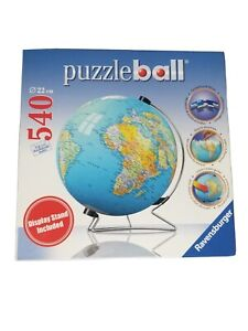 """Puzzle Ball 540 Pieces 3D Globe World Map Earth with Stand Spins Ravensburger 9"""""""