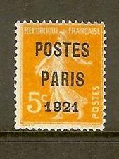 "FRANCE STAMP TIMBRE PREOBLITERE 27 "" SEMEUSE 5c PARIS 1921 "" NEUF xx A VOIR S895"