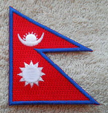 NEPAL FLAG PATCH Embroidered Badge Iron Sew on 5cm x 6cm नेपाल Nepāl Himalayas