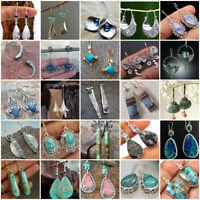 925 Silver Turquoise Earrings Sapphire Moonstone Ear Hook Dangle Drop Jewelry