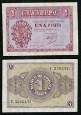 1 peseta año 1937 serie C nº 3393171 Escudo de Casa de Borbón. SC. PLANCHA.