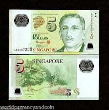 SINGAPORE 5 DOLLARS New 2014-2015 POLYMER UNC 2 TRIANGLE MERLION CURRENCY NOTE