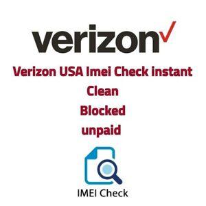 Verizon USA Imei Check Service Clean / Blocked / Unpaid