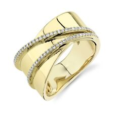 Womens 14K Yellow Gold Diamond Cocktail Ring Wide Statement Right Hand Size 7
