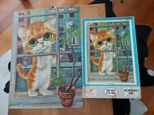 "Rare Vintage Gia Big eyed kitten Print ""Peaches"" 500 jigsaw puzzle COMPLETE"